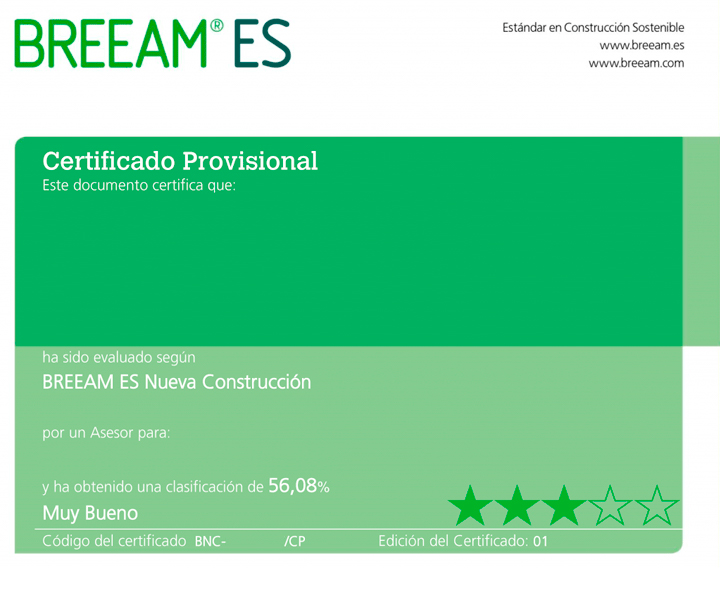 Frontal certificado BREEAM